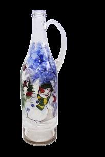Бутылка 1 литр прозр. стекло с ручкой ручная роспись - фото 8758