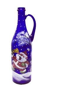 Бутылка 1 литр с ручкой синее стекло ручная роспись - фото 8759