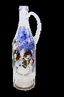 Бутылка 1 литр прозр. стекло с ручкой ручная роспись