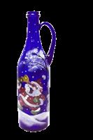 Бутылка 1 литр с ручкой синее стекло ручная роспись