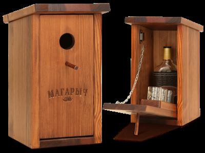 Бар скворечник Магарыч вишня (бутылка+чехол+3 стопки) - фото 10723