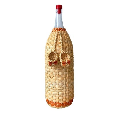 """Бутылка """"Четверть"""" 3,075 л оплетенная листьями кукурузы - фото 10872"""