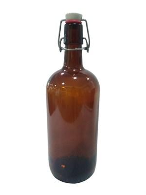 Бутылка с бугельной пробкой 1 литр коричневая - фото 21358