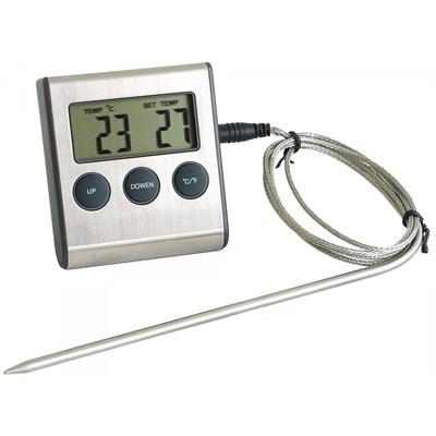 Термометр с проводным термосенсором и звуковым оповещением (0...+250) - фото 21395