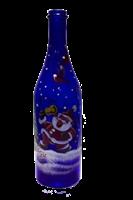 Бутылка 1 литр синее стекло ручная роспись